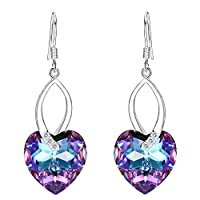 EleQueen 925 Sterling Silver CZ Love Heart French Hook Dangle Earrings Adorned with Swarovski Crystals