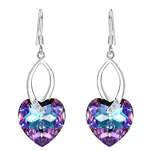 EleQueen 925 Sterling Silver CZ Love Heart French Hook Dangle Earrings Vitrail Light Adorned with Swarovski Crystals