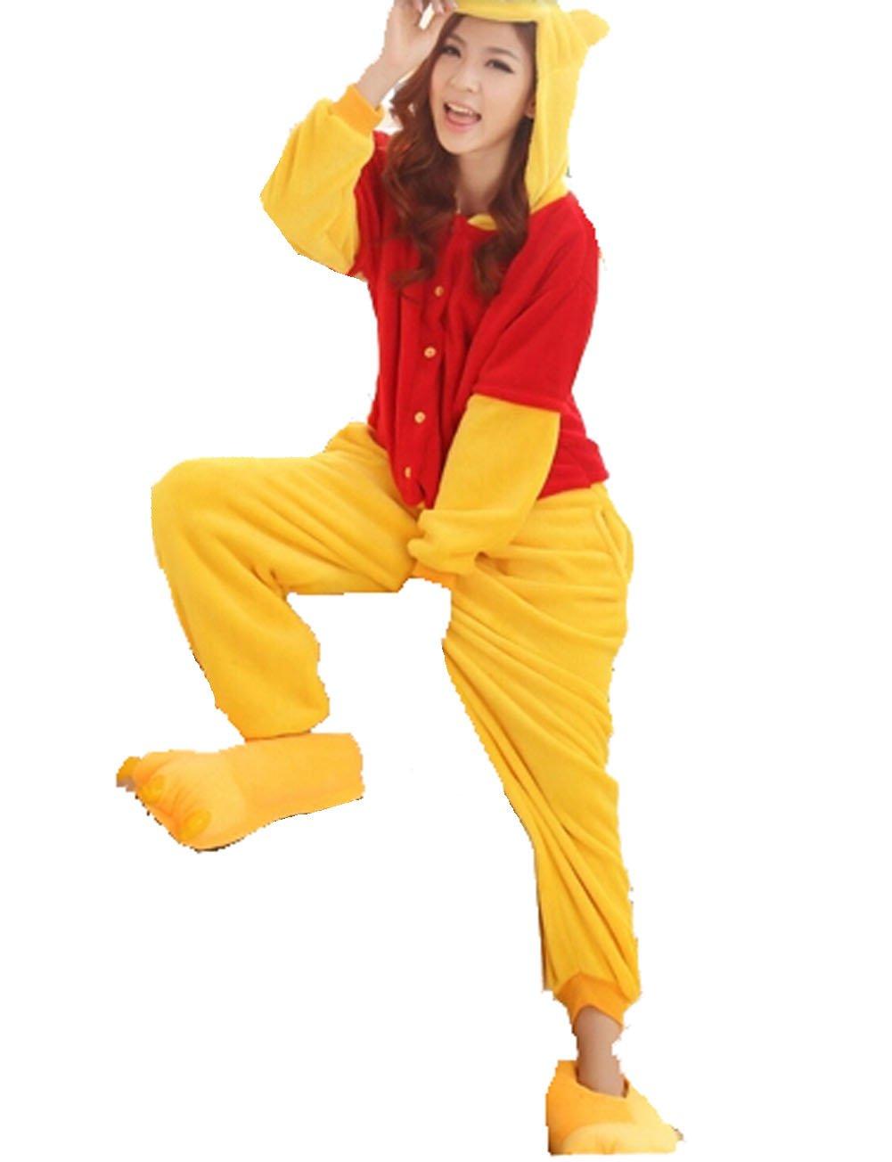 TALLA S. Pijama de una pieza unisex, diseño de Winnie Pooh, para invierno, de franela, azul, S (155-160cm)