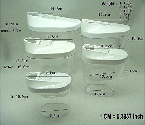 Juego de recipientes de almacenamiento de alimentos secos 5/diferentes tama/ños harina alimentos caja de almacenaje SET arroz pasta claro cereales az/úcar