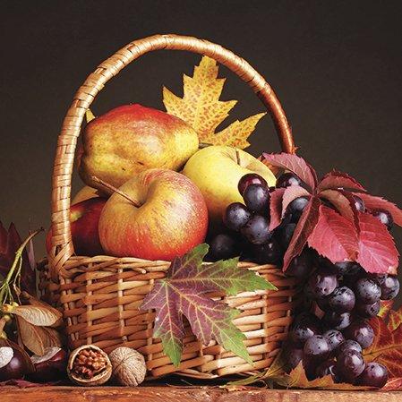 Autumn Walnut (Paper Luncheon Napkins Autumn Basket with Apples, Grapes, Walnuts 40pcs)