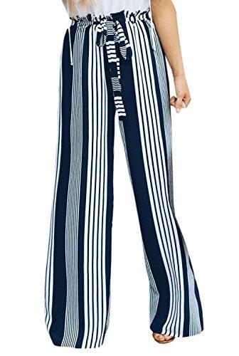 Nuovo Moda Casual Spiaggia con Donna Baggy Larga Bende Gamba da Nero Lungo Pants Pantaloni Righe Pants a rprHvxq
