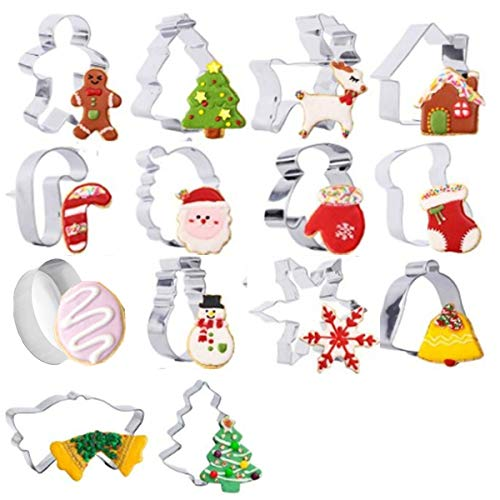 (Christmas Cookie Cutter - 14 Stainless Steel Holidays Cookies Molds - Unique 3D Shaped Christmas DIY Baking Moulds Xmas)