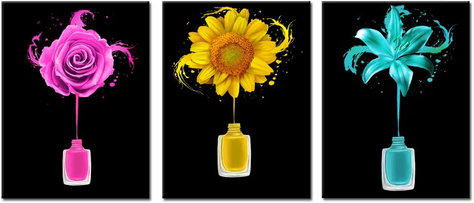 Kreative Arts Manicure and Nail Art Wall Decor for Salon Room Canvas Prints Frame Art Nail Polish Brushes Posters Roses Sunflowers and Lily Pictures Flowers Painting Walls Decoration Ready to Hang