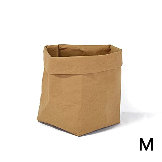 PROKTH Bolsas de papel kraft - Macetas de papel kraft - Bolsa pan - Papel kraft - Lavable papel multiusos bolsa de almacenamiento - Marrón - Medium