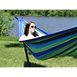 Patio Balcony Deck Brazilian Double Cotton Hammock with Steel Stand - Blue amp;Green Stripes