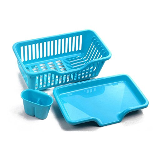 TOOGOO Blue Kitchen Sink Dish Drying Rack Drainer Washing Ho