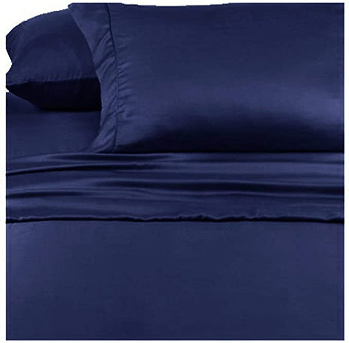 SHEETS 6 pc King Bed Set flat sheet  Fitted sheet 4 King Pillow cases Blue /& White Polyester Flat Sheet 102 x 108 NOS