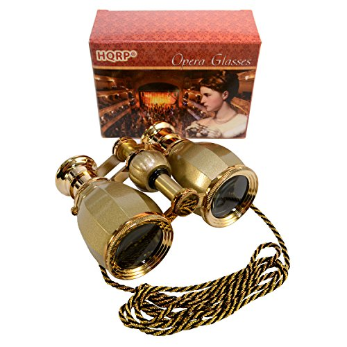 HQRP Opera Glasses Antique Style Golden with Golden Trim w/Necklace Chain w/Crystal Clear Optic (CCO) (Air Concert Open)