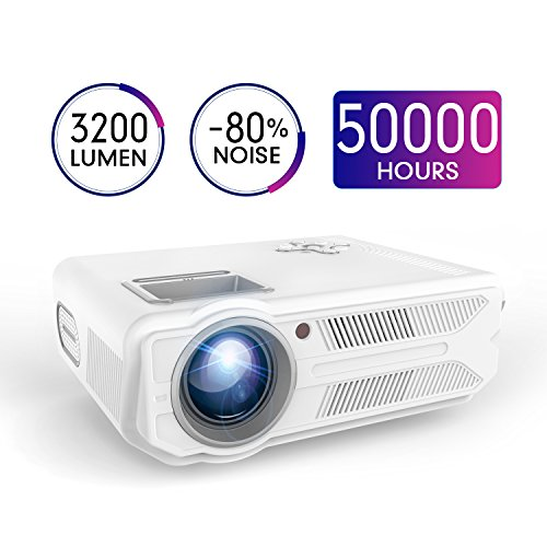 Projector, DBPOWER Mini Projector, 3200 Lumens 200'' Big Display LCD Video Projector, 1080P Supported, 50,000 Hours Lamp Life, Multimedia Home Theater Projector Support HDMI USB SD VGA AV