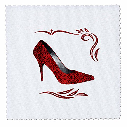 Doreen Erhardt Animal Print Collection - Hot Red Cheetah Print Stiletto High Heel with Swirls and White - 6x6 inch quilt square (qs_244691_2)