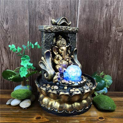 WYDZSM Creative New Southeast Asia Thailand Statues Buddha Statues Lucky Desktop Water Ornaments Indoor Fountain Resin Crafts 20.5X30Cm
