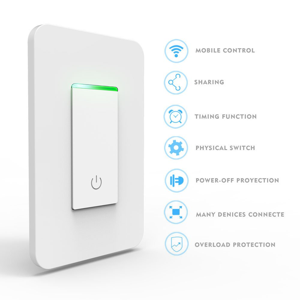 Smart Light Switch, Wi-Fi Switch Wireless Light Switch Compatible with Alexa and Google Home,No Hub Required,Timing Function,Control Your Fixtures From Anywhere (ON/Off Switch-1PCS) by LADUO (Image #2)
