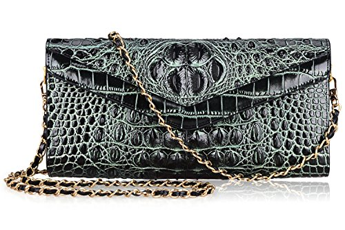 PIJUSHI Fashionable Embossed Crocodile Leather Gold Metal Evening Party Clutch Wallets (65111, Black/Green)