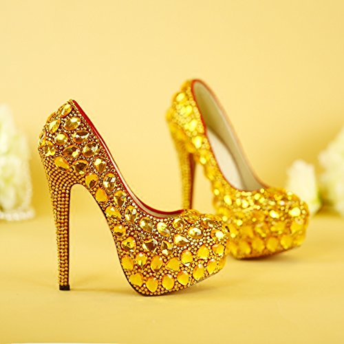 Eveing 14Cm Prom Party Color Wedding Shoe Gold Heels Women VIVIOO Shoes Shoes Heel 7 Higher Dress Super Sandals AwZqp7