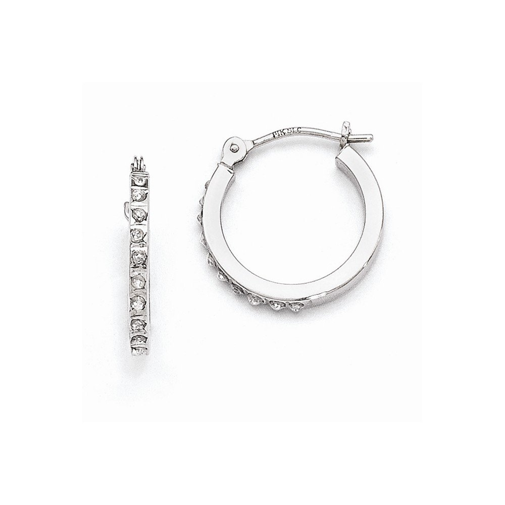 ICE CARATS 14k White Gold Diamond Fascination Hinged Hoop Earrings Ear Hoops Set Fine Jewelry Gift Set For Women Heart by ICE CARATS (Image #3)