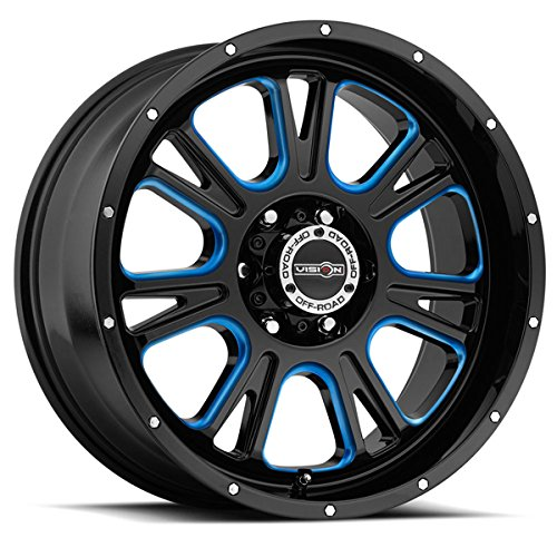 Vision 399 Fury 17x8.5 5x127/5x5'' +0mm Black/Milled/Blue Wheel Rim by Vision