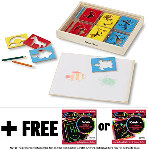 Wooden Stencil Box Set + FREE Melissa & Doug Scratch Art Mini-Pad Bundle