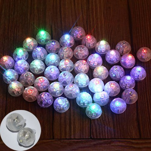 Neo LOONS® 50pcs/lot 50 X Multicolor Round Led Flash Ball Lamp Balloon Light Long Standby time for Paper Lantern Balloon Light Party Wedding Decoration
