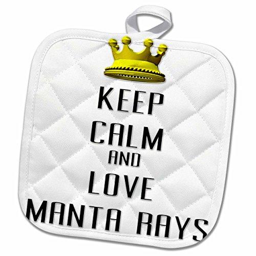 3dRose Blonde Designs Gold Crown For Keep Calm Love Animals - Gold Crown Keep Calm And Love Manta Rays - 8x8 Potholder (phl_121193_1)