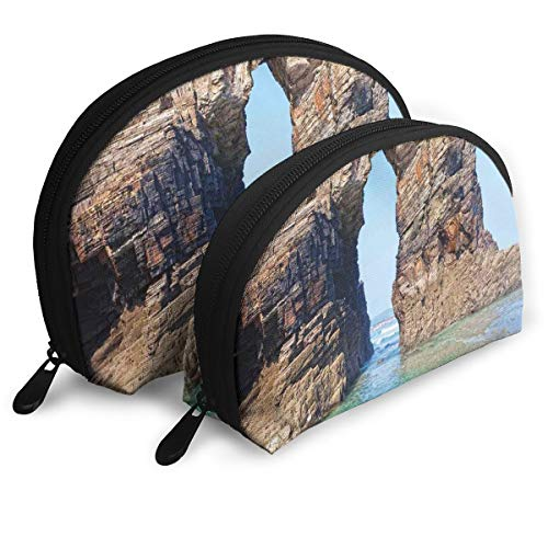 Shell Shape Makeup Bag Set Portable Purse Travel Cosmetic Pouch,Old Rocky Stone Arches On Spanish Seacoast Summer Light Nature Scenery De Mediterranean,Women Toiletry -