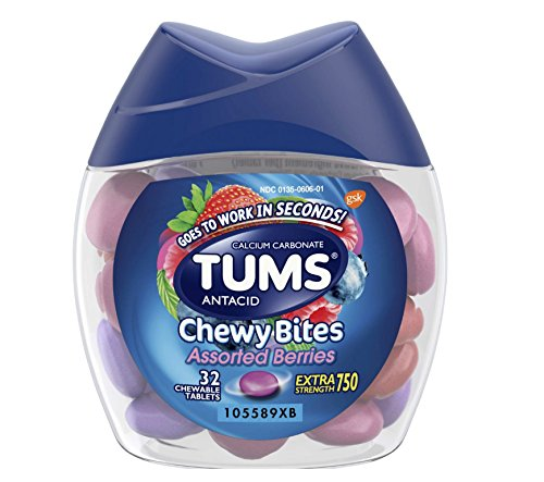 32 Count (1 Package) TUMS Chewy Tablets Assorted Berries, Extra Strength - Chewable Antacid - Goes To Work In Seconds ()