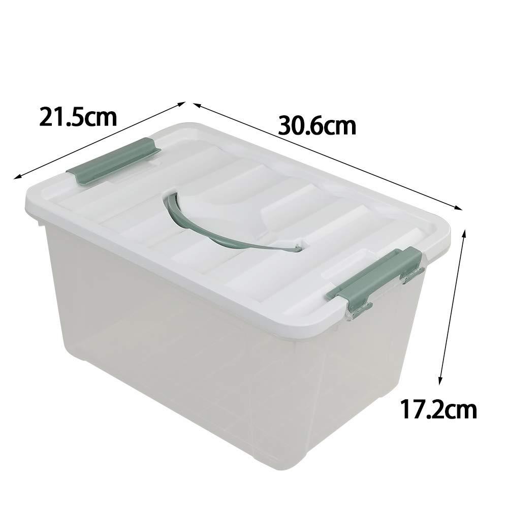 Confezione da 4 con Coperchio Ponpong Contenitori Trasparenti con Manico in plastica Grande