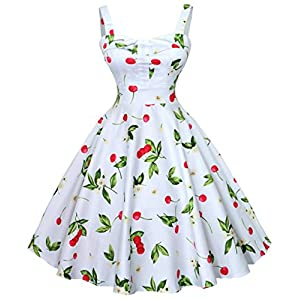 Sunling Ladies Country Cherry Sundress Floral Retro Dress Black Red White Color S-3XL
