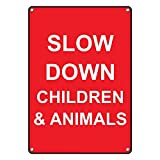 Weatherproof Plastic Vertical Slow Down Children & Animals Sign with English Text