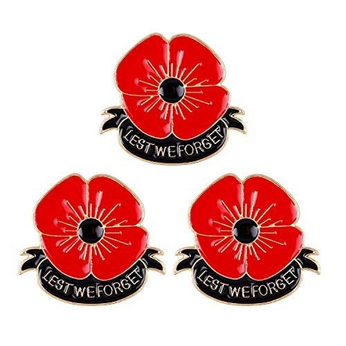 3 Pcs Red Flowers Poppy Brooches for Women Men Soldier Remembrance Days Gifts Poppy Pins