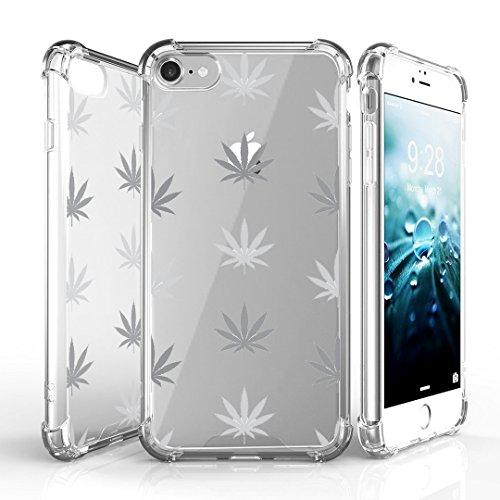 iPhone 7 Case, DuroCase AquaFlex 4 Corner Shockproof TPU Bumper w/ Hard Plastic Back Shield 2in1 Hybrid Case (Clear) For Apple iPhone 7 - (White Plants)