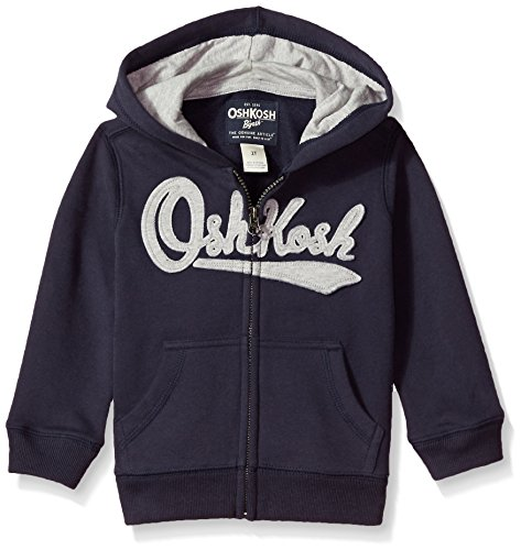 OshKosh B'Gosh Boys' Toddler Full Zip Logo Hoodie, Solid Navy, 4T
