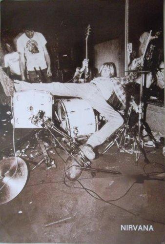Nirvana/kurt Cobain Falling Back on Drum Kit - Poster- Rare New - Image Print Photo ()