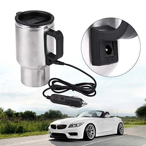 Electric Car Kettles Boiling Heat Cup Insulation Insulated Bottles 450ml 12V Stainless Steel Cigarette Lighter Plug by Aramox (Image #8)