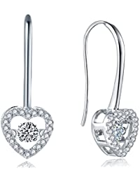 ♥Valentine's Gifts-YL Sterling Silver Dancing Diamond CZ Heart/Round Leverback Dangle Drop Earrings Women