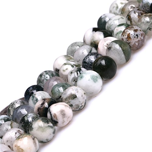 Moss Tree Agate Beads for Jewelry Making Natural Gemstone Semi Precious 8mm Round Green 15