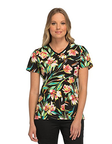 Runway by Cherokee Women's V-Neck Floral Print Scrub Top X-Small Print