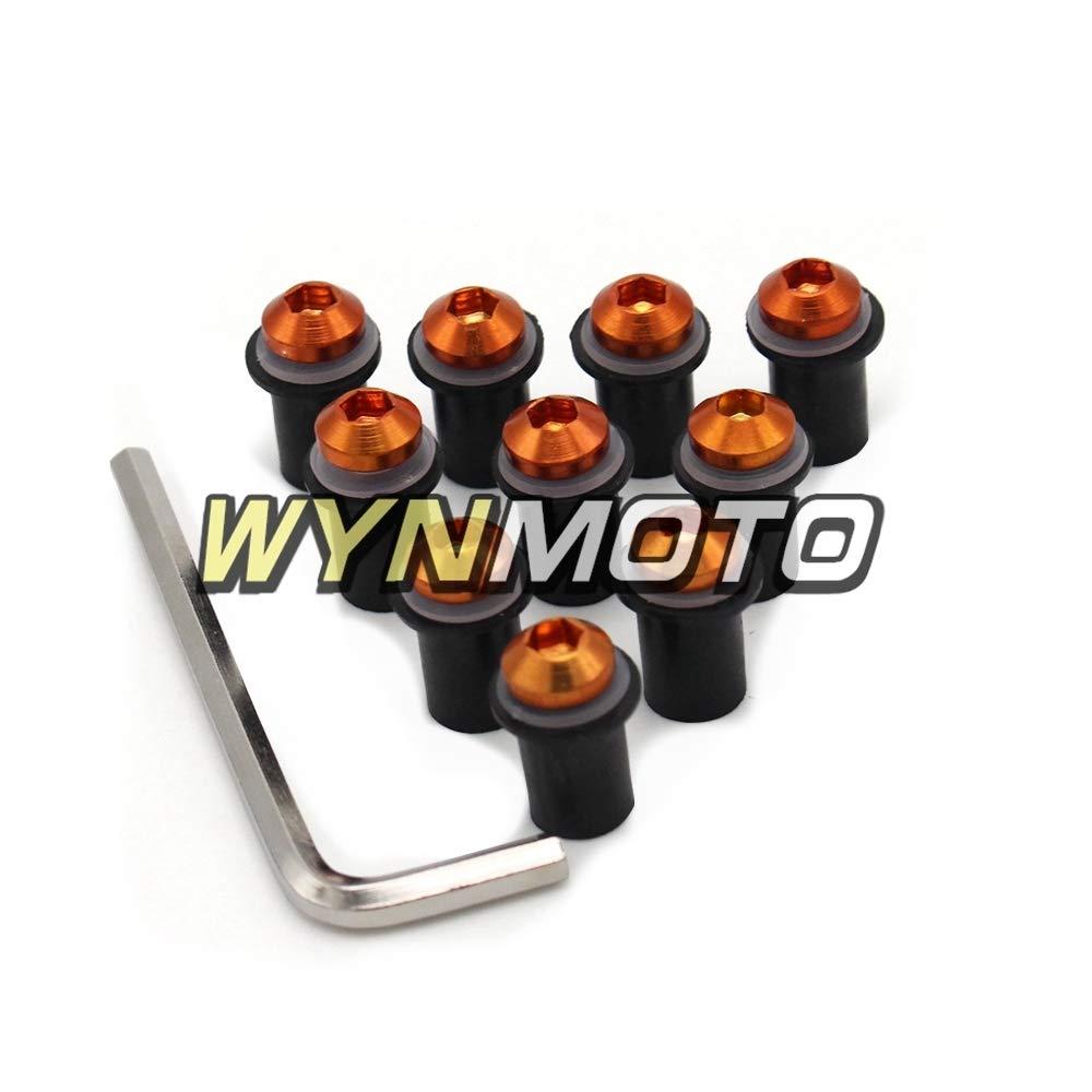 Works on OEM or Aftermarket Windshield Bolts Hardware Installation,10 Set Orange Color WYNMOTO Windscreen Screws Mounting M5 Nut Well Screws Washers For Honda CBR1000 RR 06 07