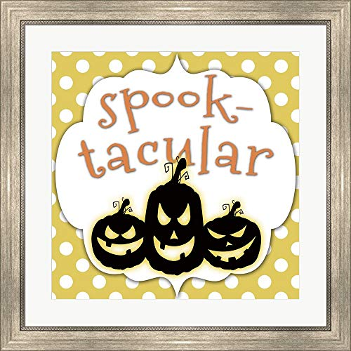 Spooktacular Pumpkins by Jennifer Nilsson Framed Art Print Wall Picture, Silver Scoop Frame, 25 x 25 inches ()