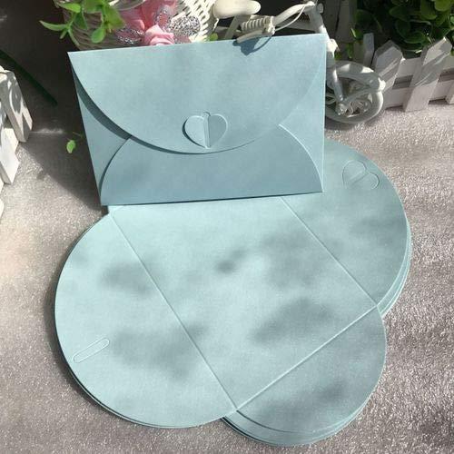Leather Manila Envelope - Aircors 50 pcs/lot Fashion Retro Heart Shape Vintage Romantic Paper Envelop Gift for Wedding Invitation/Card Stationery - (Color: Light Blue)