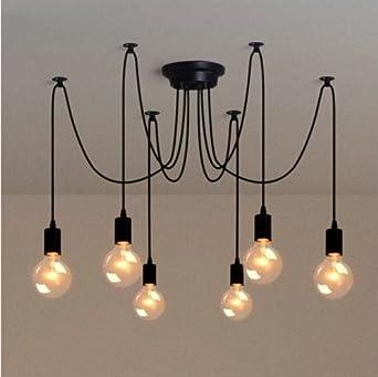 Pendelleuchte 6x GU10 Schwarz Hängelampe Lampe Hängeleuchte Loft Vintage Decke