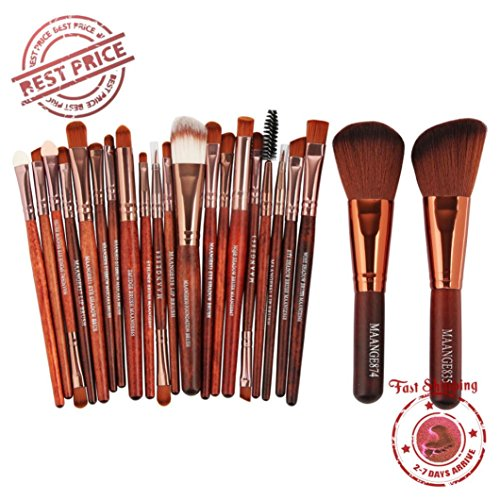 Poluck 22 Pieces Best Kabuki Makeup Brush For Liquid Cream Mineral Bare Powder Foundation Face Eye Cosmetics Best Quality Design Great For Valentine's Day Gift Ideas(Red Brown)