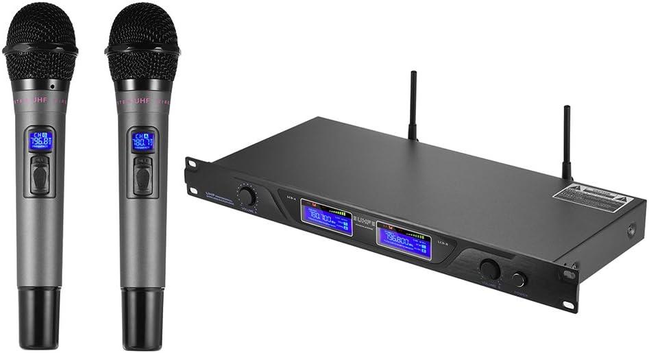 ammoon Micrófono Inalámbrico Profesional UHF Sistema de Micrófono Canales Duales Receptor Pantalla LCD 2 Micrófonos de Mano 6,35 mm Cable de Audio Adaptador de Corriente para la Etapa Karaoke