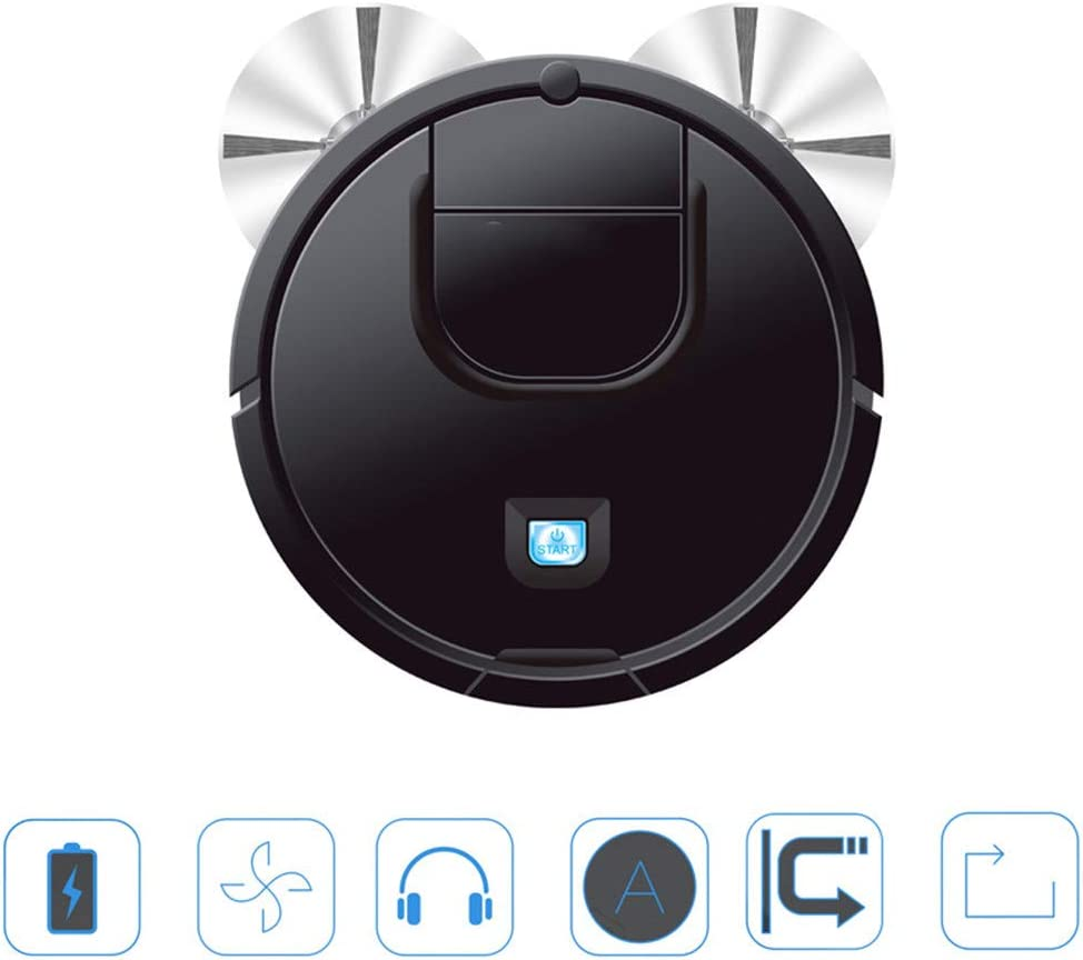 INTELZY Aspirador Robot, Aspiradora Automática 3 en 1 con 6Cm Delgado, Servicio de Robot Funciona Bien para Mascotas de Pelo Alfombras Pisos Duros, Negro, Blanco,Negro