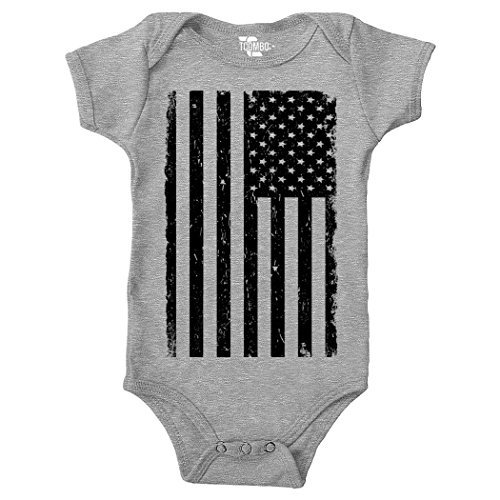Tcombo Big Black American Flag - Distressed Bodysuit (6M, Light Gray) Cotton Distressed Onesie
