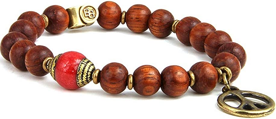 Stretch Cord 7-7.25 inches Brass Peace Sign Charm and Beads Round Beads with Tibetan Statement Bead BeachBu Designer Jewelry The Zuma Bracelet in Bayong Wood and Red Jade