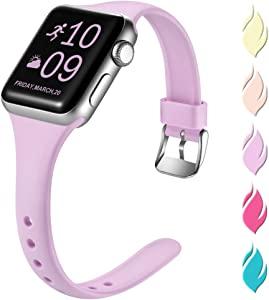 Henva Fashionable Band Compatible with iWatch 44mm 42mm, Waterproof Soft Band Compatible for Apple Watch SE Series 6/5/4/3/2/1, Lavender, S/M