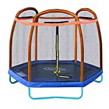 Clevr 7ft Kids Trampoline and Safety Enclosure Net & Spring Pad, 7-Foot Outdoor
