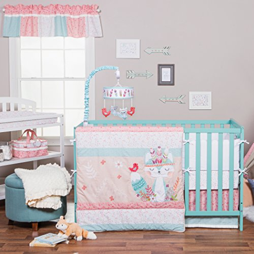 Lab Trend Set Crib Pink - Trend Lab Wild Forever 3 Piece Crib Bedding Set, Pink/Teal