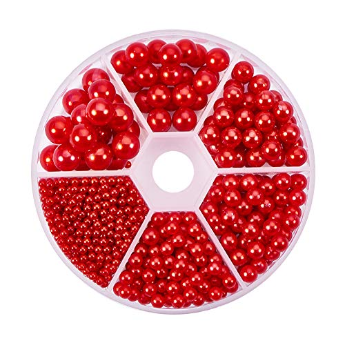 - PH PandaHall About 1113 Pieces 6 Sizes No Holes/Undrilled Imitated Pearl Beads for Vase Fillers, Wedding, Party, Home Decoration, Red (2.5mm, 4mm, 5mm, 6mm,7mm, 8mm)